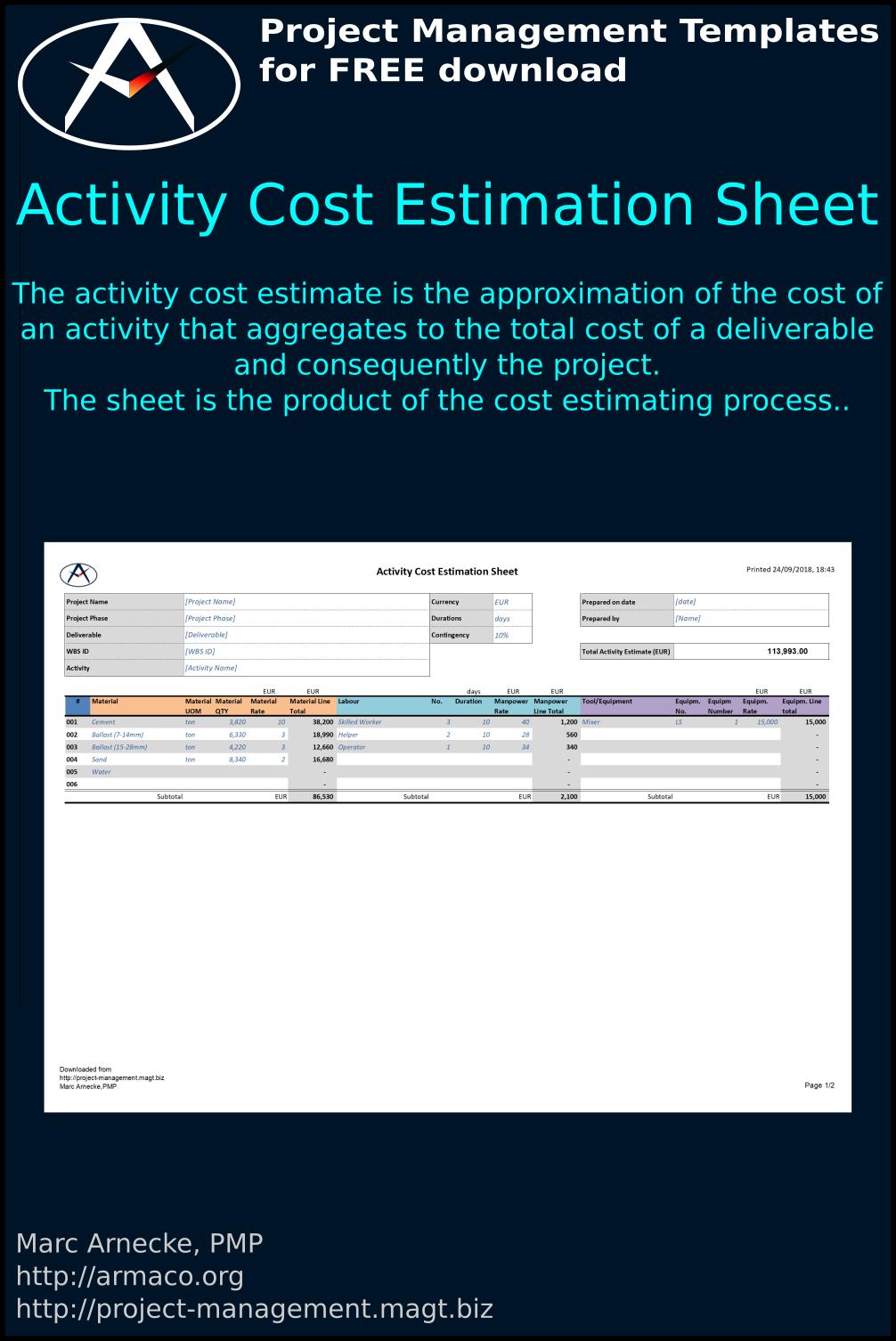 Download Activity Cost Estimation Sheet
