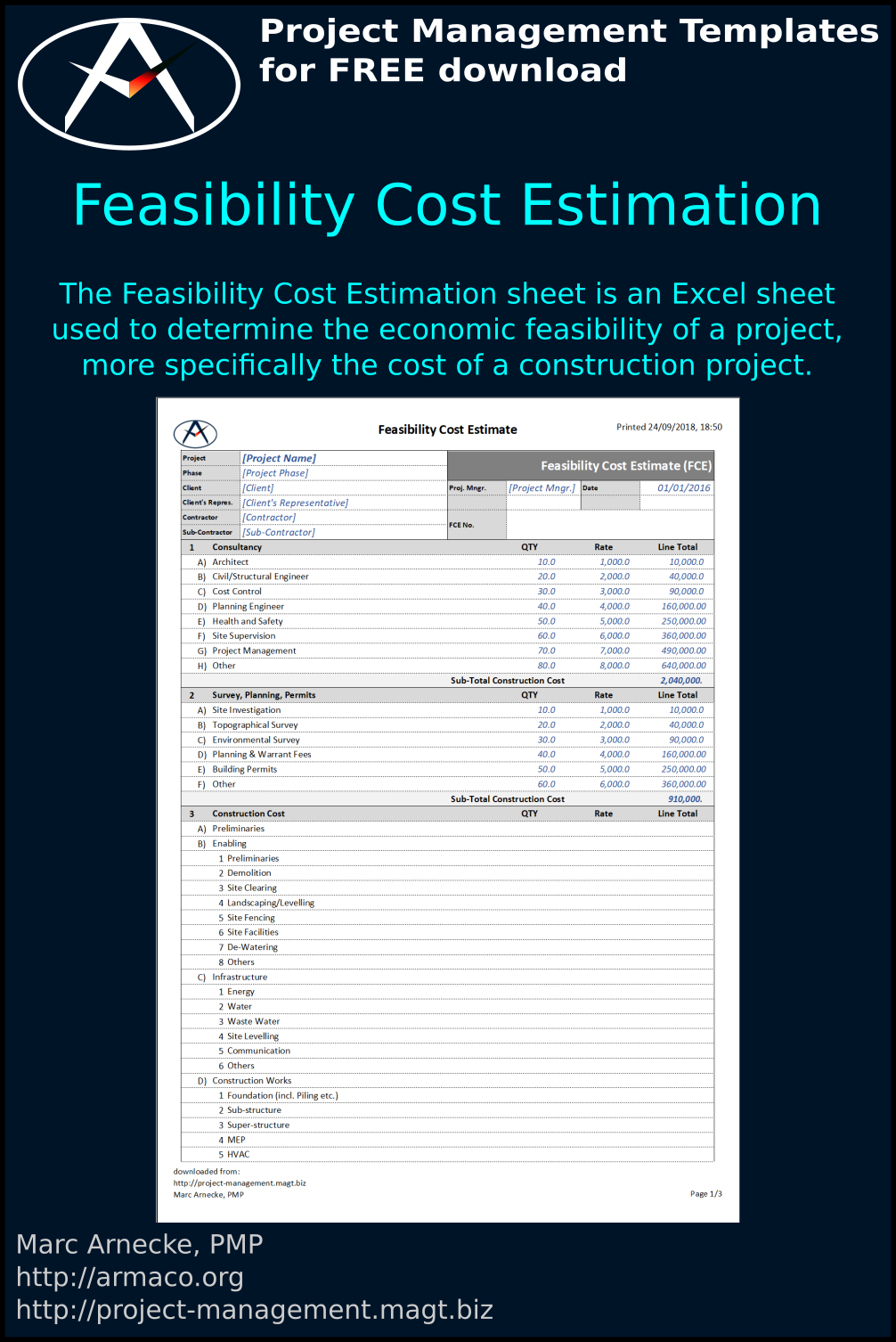 Download Feasibility Cost Estimation Sheet