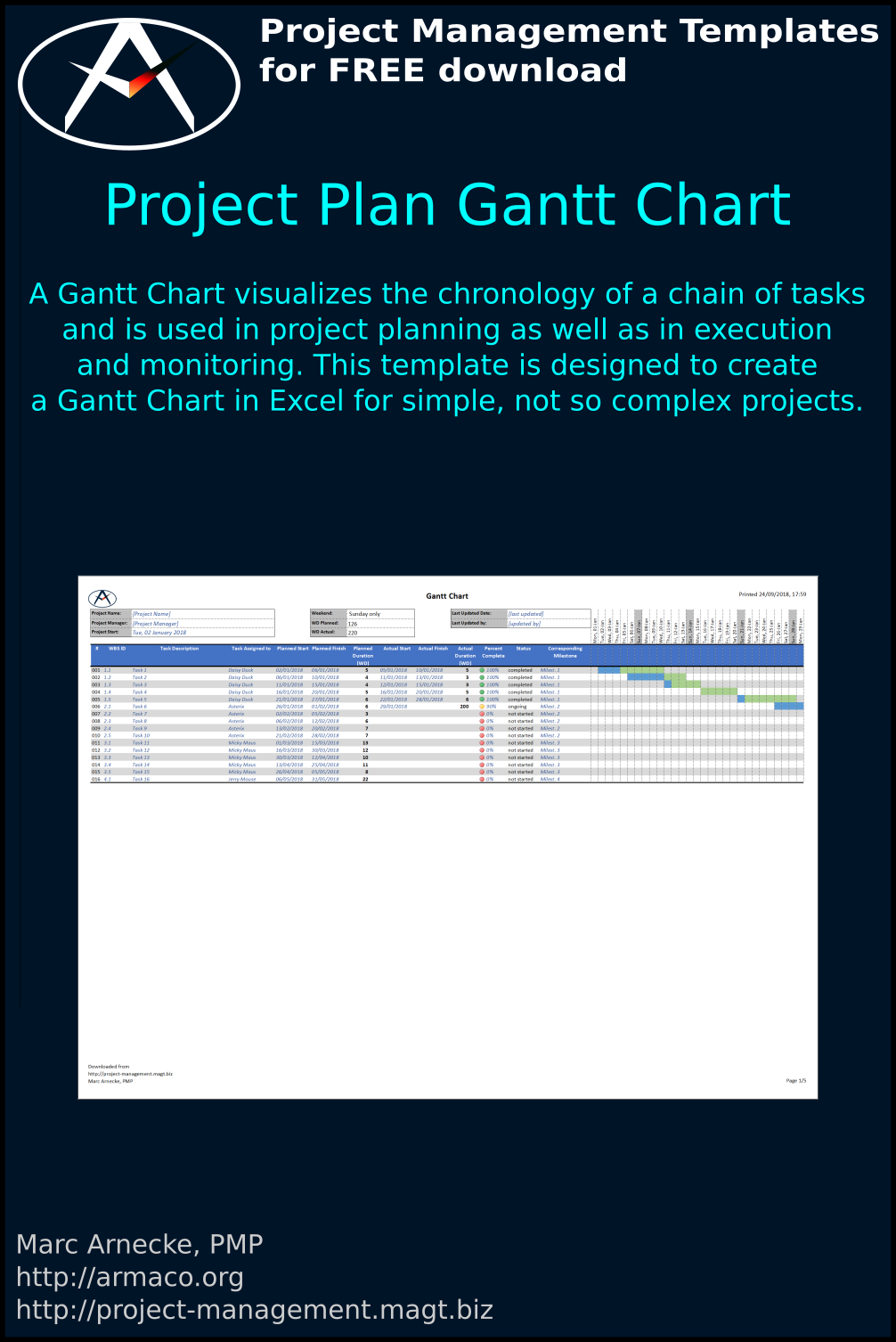 Download Free Project Plan Gantt Chart Template Excel
