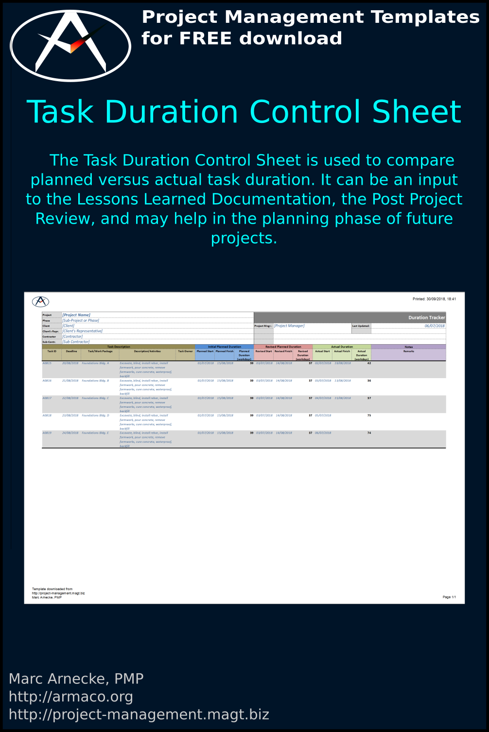 Task Duration Control Sheet Template
