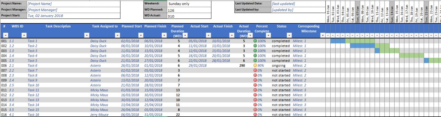 Project Plan - Gantt Chart Template